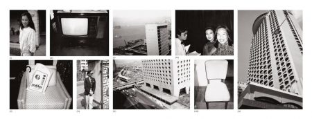 Nine Works: (I) Young Woman; (II) Chair And Bag; (III) TeleVIsion; (IV) Fred Hughes; (V) Hong Kong Harbour; (VI) Street And Building; (VII) Unidentified Woman And Waiter; (VIII) Chair; (IX) Hong Kong Building-1982
