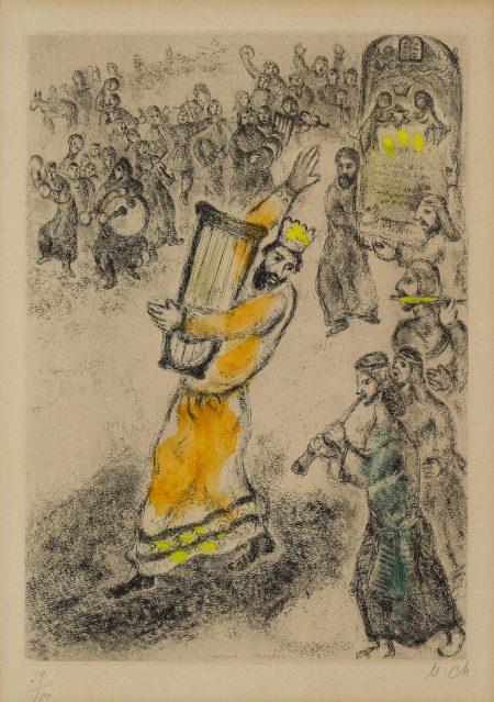 Marc Chagall-Larche Portee A Jerusalem, Pl. 67, From La Bible (V. 265; C. Bk. 30)-1939