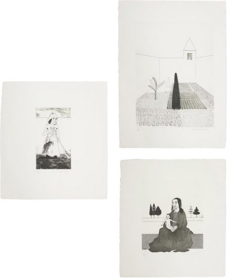 David Hockney-Rapunzel Growing In The Garden; The Enchantress In Her Garden; And The Enchantress With The Baby Rapunzel, Plates 12, 13 And 14 From Illustrations For Six Fairy Tales From The Brothers Grimm-1969