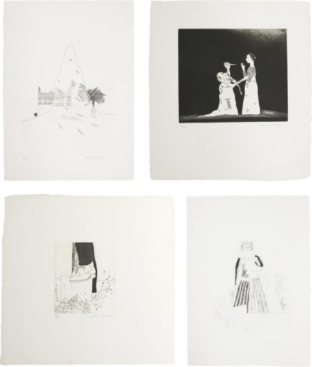David Hockney-The Glass Mountain; Old Rinkrank Threatens The Princess; Digging Up Glass; And The Rescued Princess, Plates 29, 30, 31 And 33 From Illustrations For Six Fairy Tales From The Brothers Grimm-1969