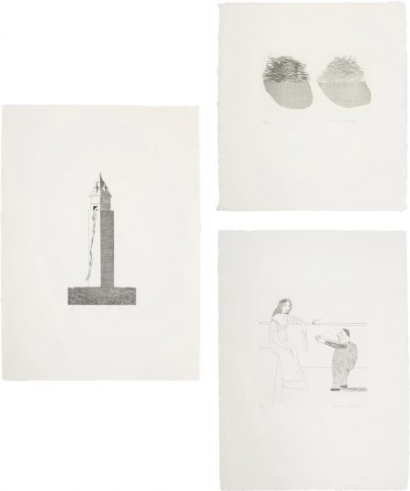 David Hockney-The Tower Had One Window; Straw On The Left, Gold On The Right; And Pleading For The Child, Plates 16, 36 And 37 From Illustrations For Six Fairy Tales From The Brothers Grimm-1969