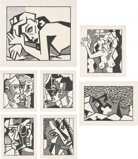 Roy Lichtenstein-Expressionist Woodcut Series (Black State)-1981