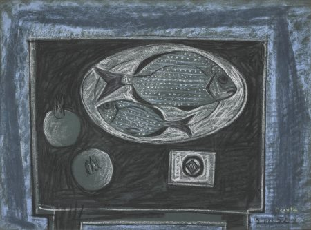 John Craxton-Fishes And Pomegranates On A Table-1952