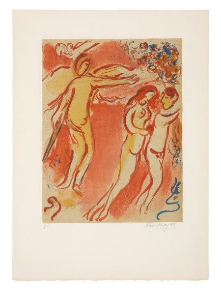 Marc Chagall-Adam And Eve Are Banished From Paradise, From Drawings For The Bible (Mourlot237, Cramer Books 42)-1958