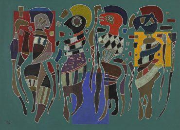 Wassily Kandinsky-4 Figuren Auf 3 Quadraten (4 Figures On 3 Squares)-1943