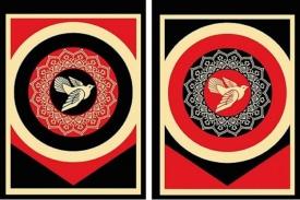 Shepard Fairey-Peace Dove (black & red)-2011