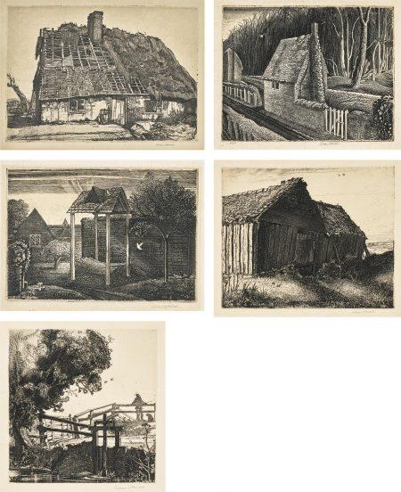 Graham Sutherland-Number Forty-Nine (Walker 21); Cottage In Dorset; May Green; The Sluice Gate (Walker 14) And Warning Camp (Walker 13)-1929