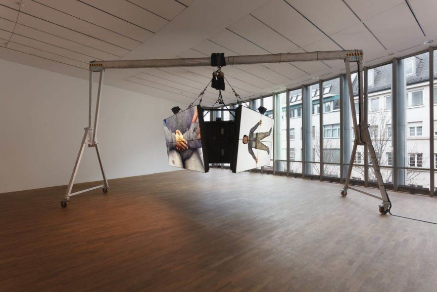 Exhibition View MMK Museum für Moderne Kunst Frankfurt am Main 2017, Filmstill, Courtesy the artist, Galerie Isabella Bortolozzi, Berlin, Cabinet Gallery, London and Gavin Brown's Enterprise, New York, Photo: Axel Schneider