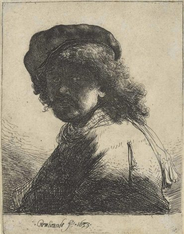 Self-Portrait In A Cap And Scarf With The Face Dark: Bust