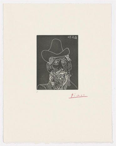 Pablo Picasso-Buste D'homme Barbu Au Chapeau-1971