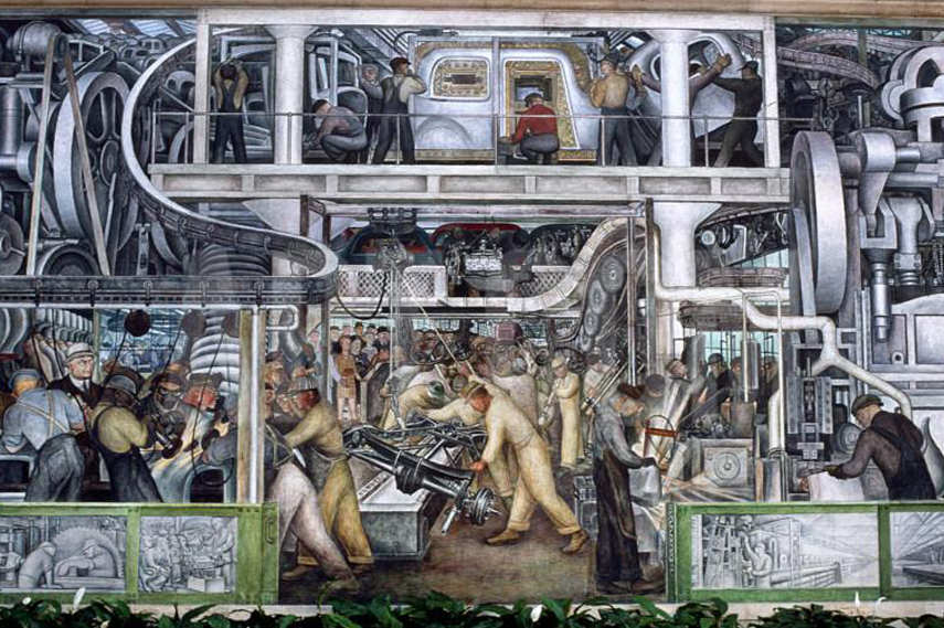 4 Diego Rivera - Part of the mural Detroit Industry at the Detroit Institute of Art - Image via Art com