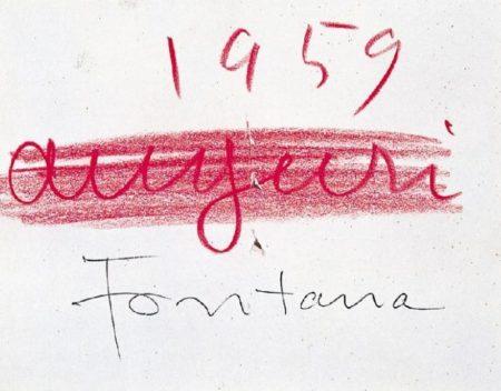 Lucio Fontana-Concetto spaziale, biglietto di auguri-1959