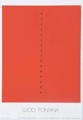 Lucio Fontana-Concept spatial (rectangle rouge perce de trous)-