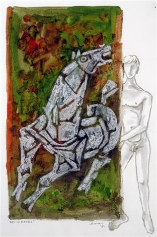 Maqbool Fida Husain-Boy in Marble-1981