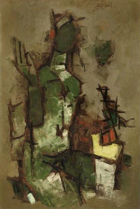 Maqbool Fida Husain-Untitled (Seated Figure)-1959