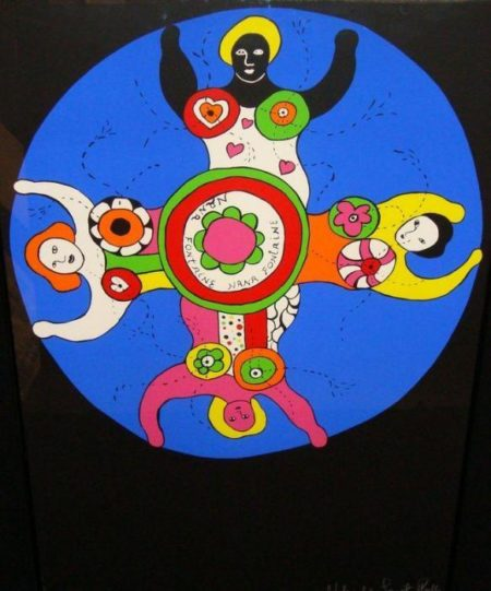 Niki de Saint Phalle-Les Baigneuses, (Nana Fontaine sur fond noir)-1979