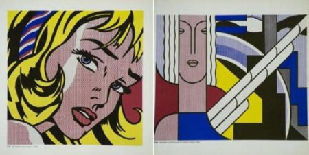 Roy Lichtenstein-Girl with hair ribbon; Modern pinting wath classic head-1967