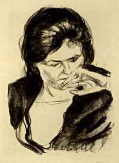 Edvard Munch-Frauenkopf mit der Hand am Mund-1920