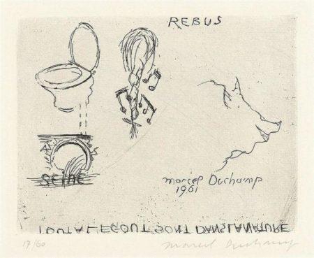 Marcel Duchamp-Rebus (Schwarz 581) Tout a l'egout sont dans la nature-1961