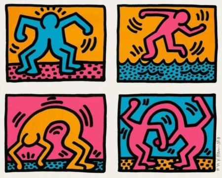 Keith Haring-Keith Haring - Pop Shop Quad II-1988
