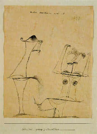 Paul Klee-Zeichnung Zum Urwelt Paar (Drawing For 'Urwelt Paar')-1921