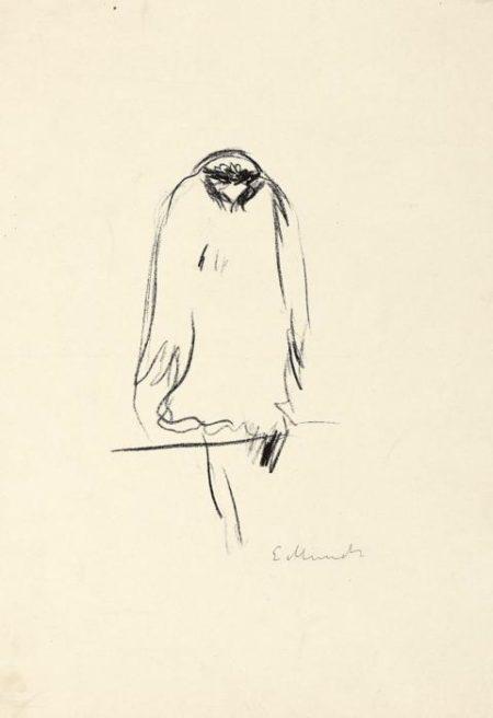 Edvard Munch-Sitzender Raubvogel (Woll 326)-1909