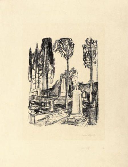 Edvard Munch-Das Grabmal P. A. Munchs in Rom / P.A. Munch's Tombstone in Rome / P.A.Munchs grav i Roma (Woll 680)-1927