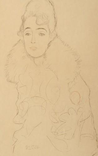 Gustav Klimt-Dame mit Pelzmantel, nach einer Zeichnung-