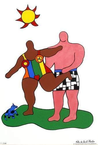 Niki de Saint Phalle-Couple II' Black Nana & Pink Man-1999