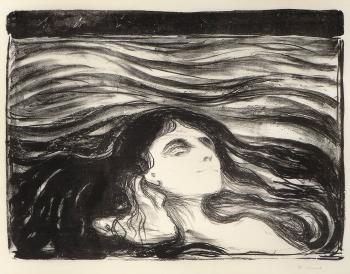 Edvard Munch-Elskende Par i Bolger / Das Liebespaar / Meer der Liebe / On the Waves of Love / Pa kjaerlighetens bolger (Sch. 71; W. 81)-1896