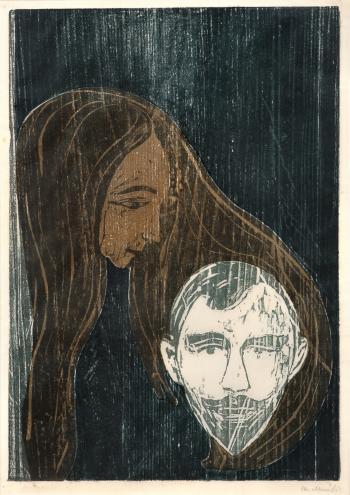 Edvard Munch-Mannshode i Kvinnehar / Mannerkopf in Frauenhaar-1896