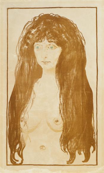 Kvinne med Rodt Har og Gronne Oyne, Synden / Woman with Red Hair and Green Eyes, The Sin / Aktfigur, Die Sunde / Nude figure, Sin / Madchen mit langen roten Haaren, Die Sunde, Weibliche Aktfigur (Sch. 142; W. 198)-1902