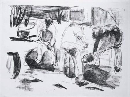 Edvard Munch-Gatearbeidere / Street Workers / Gravende Arbeidere-1920
