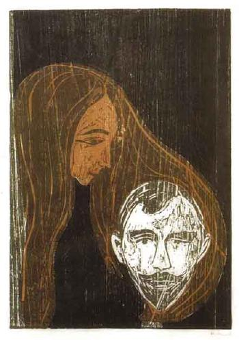 Edvard Munch-Man's Head in Woman's Hair-1896