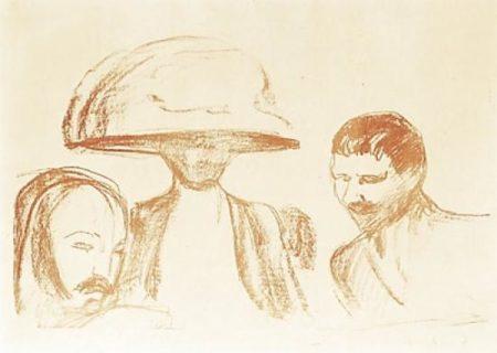Edvard Munch-Two Men and a Woman with a big Hat / To Menn Og Kvinne Med Stor Hatt-1915