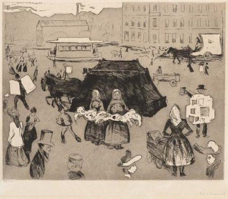 Edvard Munch-Likvognen, Potsdamer Platz / The Hearse, Potsdamer Platz (Woll no. 178 III)-1902