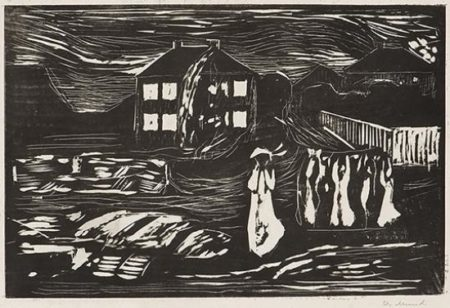 Edvard Munch-Stormen / The Storm / Sturmnacht / Stormy Night (Woll no. 371)-1909