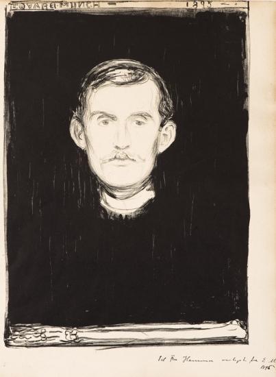 Edvard Munch-Selvportrett / Self-Portrait / Selbstbildnis / Selbstportrat (Woll 37; Schiefler 31)-1896
