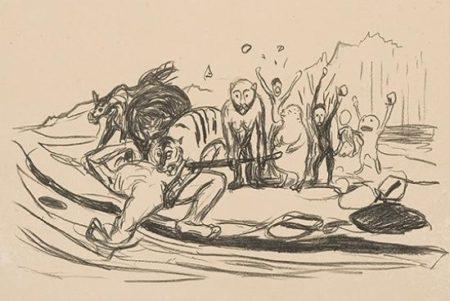 Edvard Munch-Alfas dod (Alfas Death)-1909