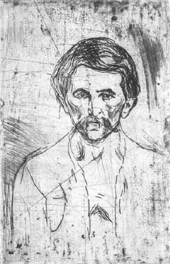 Edvard Munch-Arbeider med Bart / Worker With Moustache (Schiefler 201; Woll 233)-1903