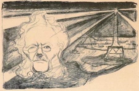Edvard Munch-Teaterprogram: John Gabriel Borkman (Ibsen and Lighthouse ) / Jean Gabriel Borkman. Programme pour le theatre de l'Oeuvre-1897