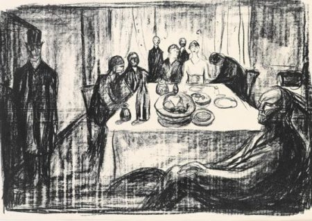 Edvard Munch-Bohemens Bryllup (The Bohemians' Wedding) / Die Hochzeit des Bohemien - Innenraum mit 9 Personen (The marriage - Interior with 9 people)-1930