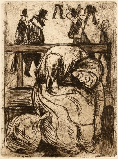 Edvard Munch-Gammel Kvinne pa Benk (Old Woman on a Bench)-1902