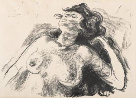 Edvard Munch-Liggende Halvakt I / Reclining Half Nude I / Reclining Nude-1920