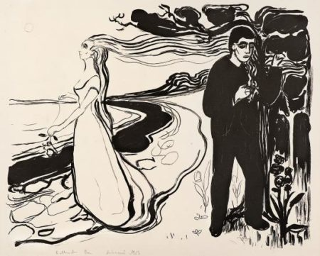 Edvard Munch-Separation I / Loslosung I / Composition (Woll 77)-1896