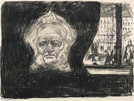 Edvard Munch-Henrik Ibsen pa Grand Cafe / Henrik Ibsen at the Grand Cafe / Henrik Ibsen im Cafe des Grand Hotel in Christiania (Woll 200)-1902