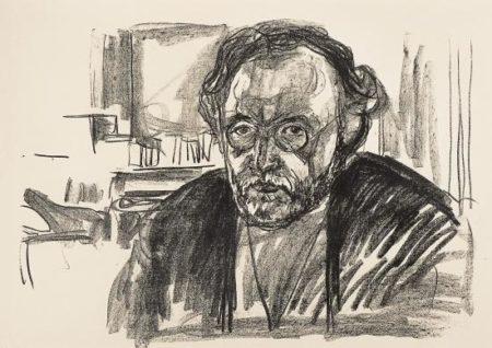 Edvard Munch-Selvportrett med Skjegg / Self-portrait with Beard / Selbstbildnis nach Krankheit / Self-portrait after Illness (Woll 268)-