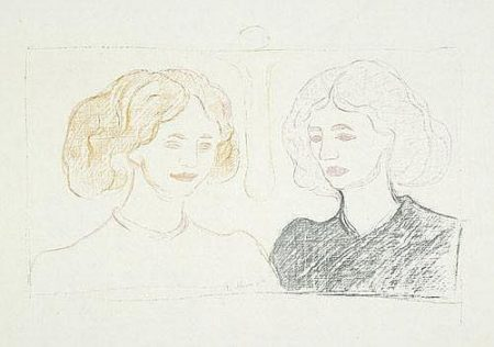 Edvard Munch-Two Female Heads against the Moon / Zwei Madchen / Two Girls-1913