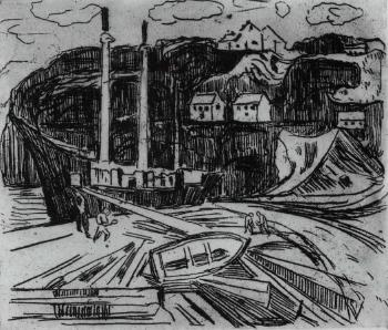 Edvard Munch-Schiffabbrechen / Dismantling Ships / Skipsopphogging / Ship being Scrapped-1916
