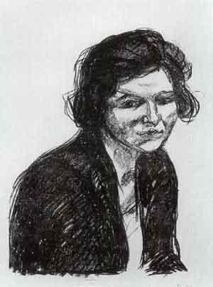 Edvard Munch-Frau mit Schwarzem Schal / Woman with a Black Shawl (Woll 642)-1920